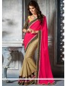Pink And Beige Chiffon Saree