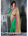 Invigorating Cream And Green Brasso Georgette Saree