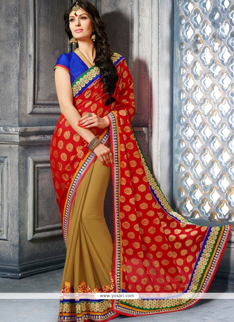 Genius Red Viscose Wedding Saree