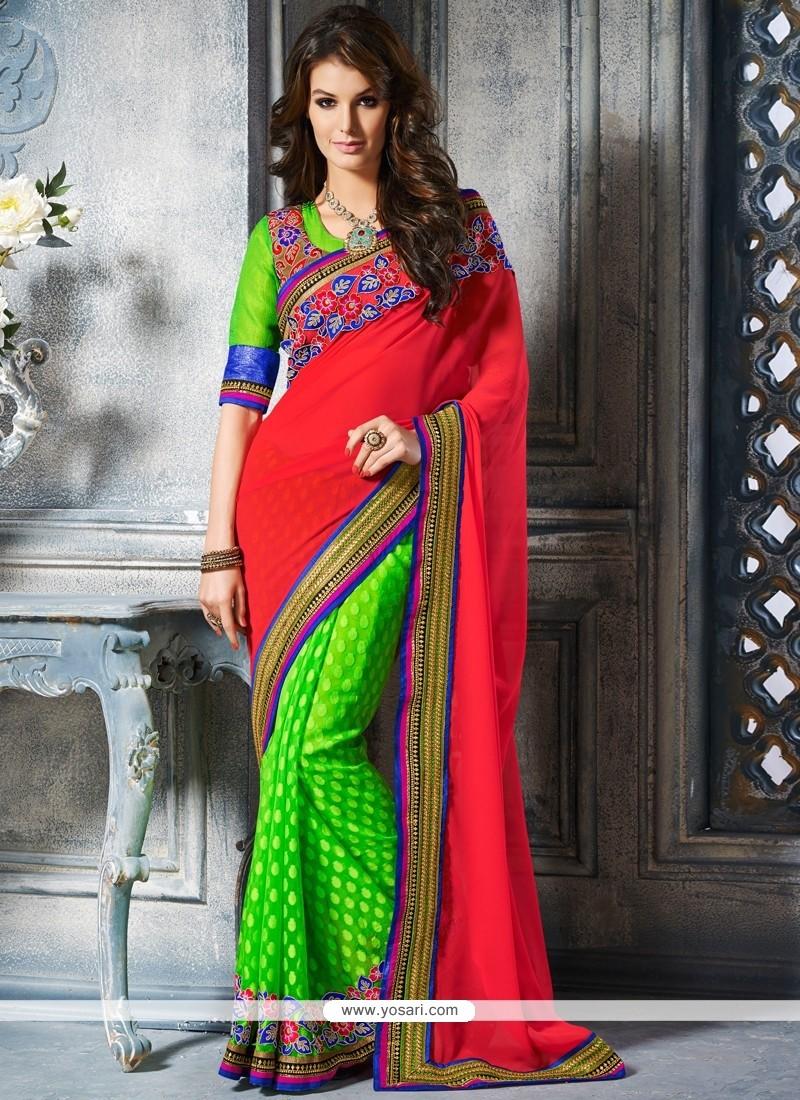 Eyeful Red And Green Art Silk Designer Saree