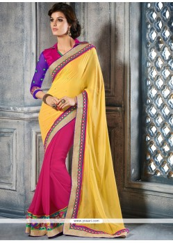 Epitome Yellow And Pink Georgette Designer Saree