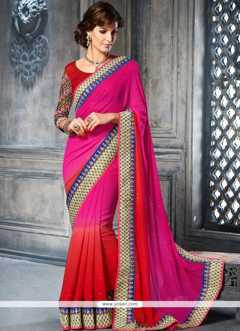 Flawless Pink And Red Georgette Designer Saree