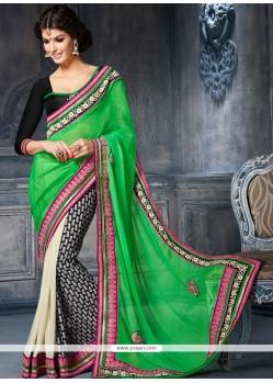 Desirable Green And Black Cotton Designer Saree