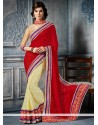 Red And Off White Georgette Designer Saree.