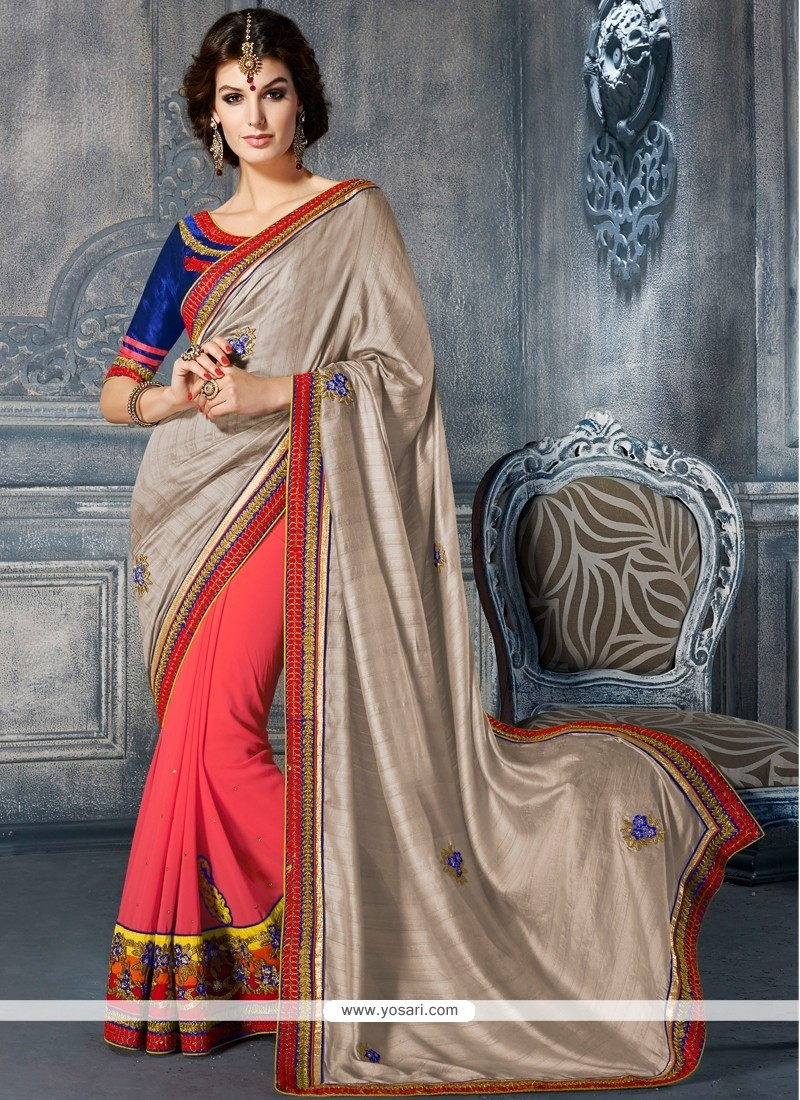 Conspicuous Grey And Pink Art Silk Party Wear Saree
