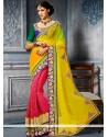 Admirable Yellow And Pink Art Silk Designer Saree