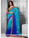 Royal Blue Shaded Faux Georgette Saree