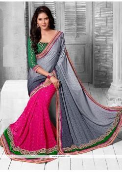Beautiful Pink And Grey Shaded Viscose Half And Half Saree