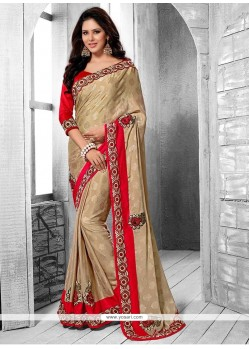 Awesome Beige Faux Chiffon And Jacquard Saree