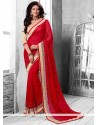 Charming Red Crystal Faux Georgette Saree
