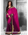 Fabulose Magenta And Purple Shaded Faux Chiffon Saree