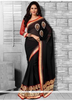 Glorious Black Shaded Resham Work Georgette Saree