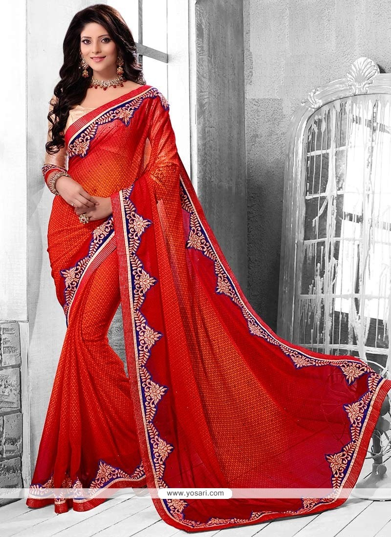 Jaaz Red And Orange Shaded Faux Chiffon Saree