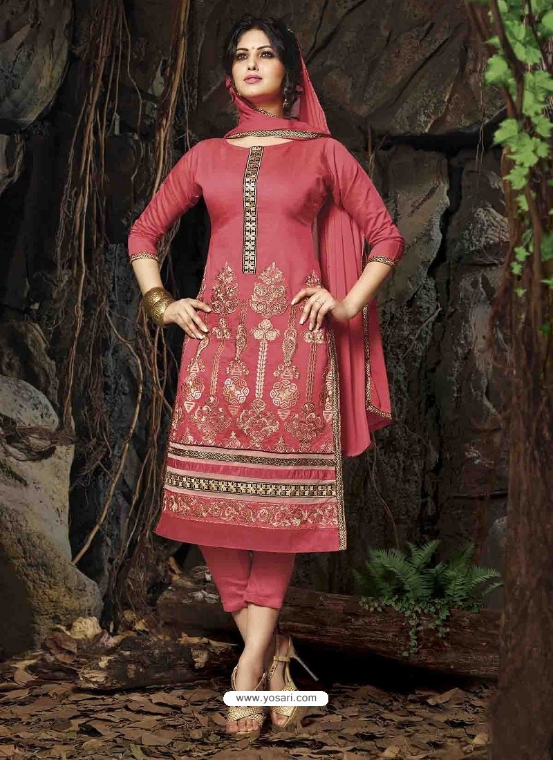Pink Chanderi Silk Salwar Kameez | Punjabi Suit online