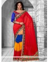 Dazzling Multicolor Faux Georgette Saree