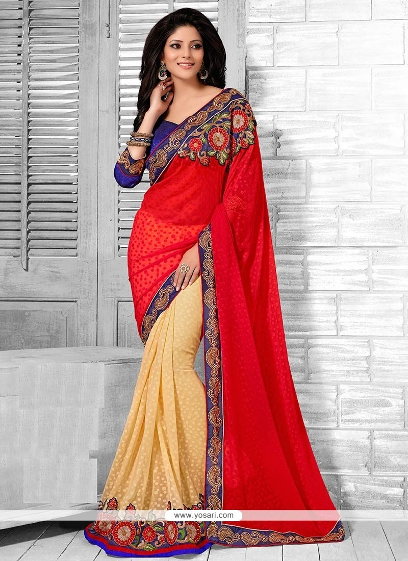 Yellow And Red Georgette Half And Half Saree