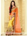 Fab Yellow And Orange Pure Georgette Half And Half Saree