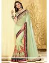 Incredible Green Shaded Net Half And Half Saree