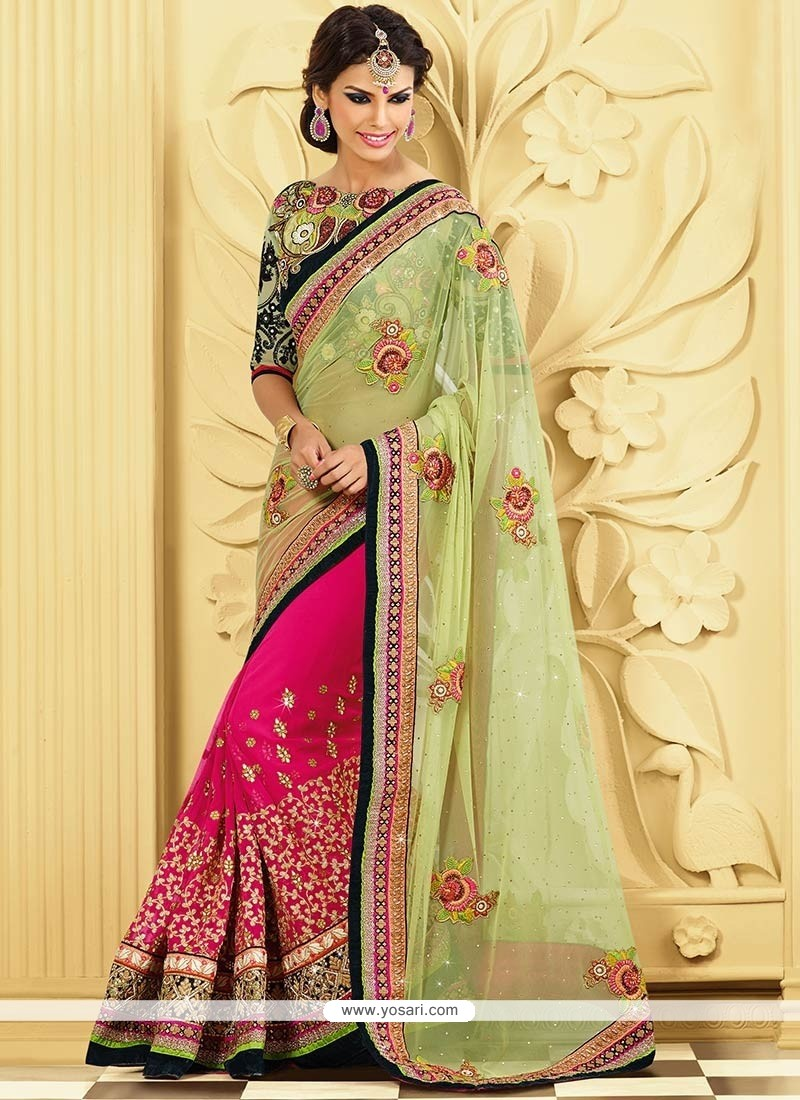Preety Pink And Green Net Half And Half Saree