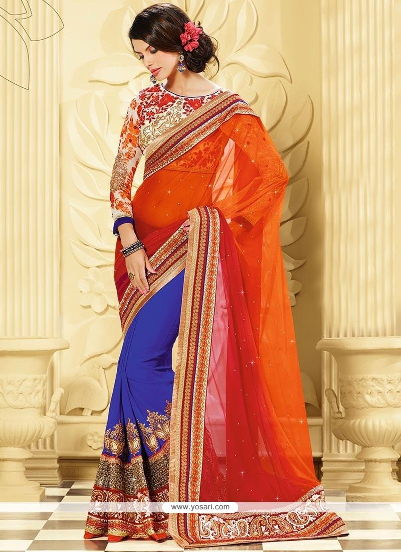 Blue And Orange Pure Georgette Designer Saree