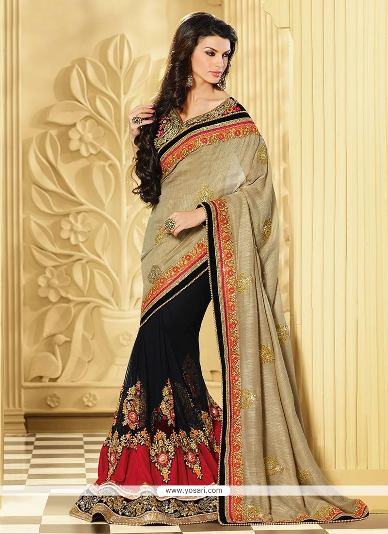 Glowing Golden And Black Net Velvet Designer Saree