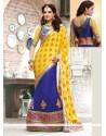 Awesome Blue And Yellow Crepe Jacquard Lehenga Saree