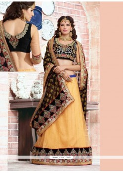 Magnificent Zari Cream And Black Jacquard Lehenga Saree