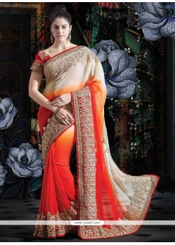Feminine Multicolored Faux Georgette Saree