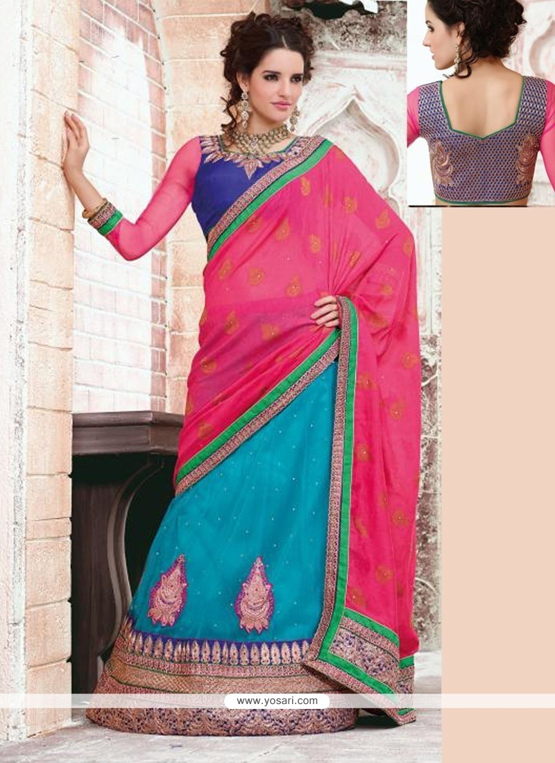 Turquoise And Pink Net And Crepe Wedding Lehenga Saree