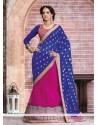 Blue And Magenta Net And Chiffon Lehenga Saree
