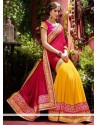 Awesome Pink And Yellow Faux Georgette Saree