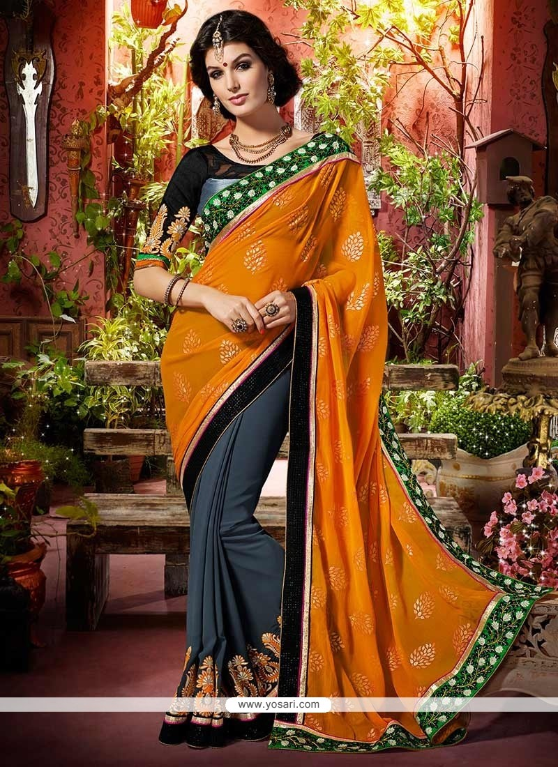 Fab Orange And Grey Faux Georgette Saree