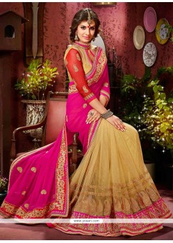 Beige And Pink Net And Faux Georgette Saree