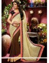Latest Cream And Brown Faux Georgette Saree