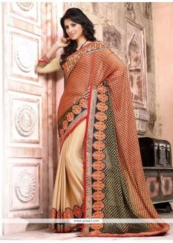 Deserving Cream And Red Resham Designer Saree