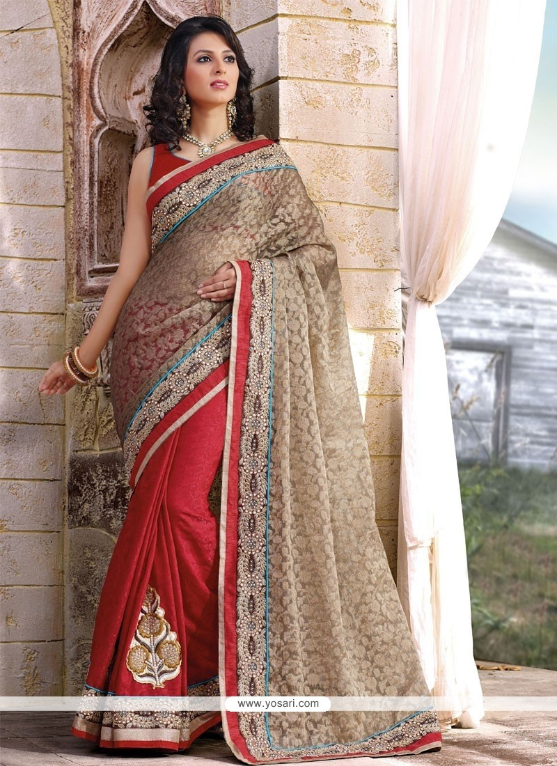 Red And Beige Jacquard Designer Saree
