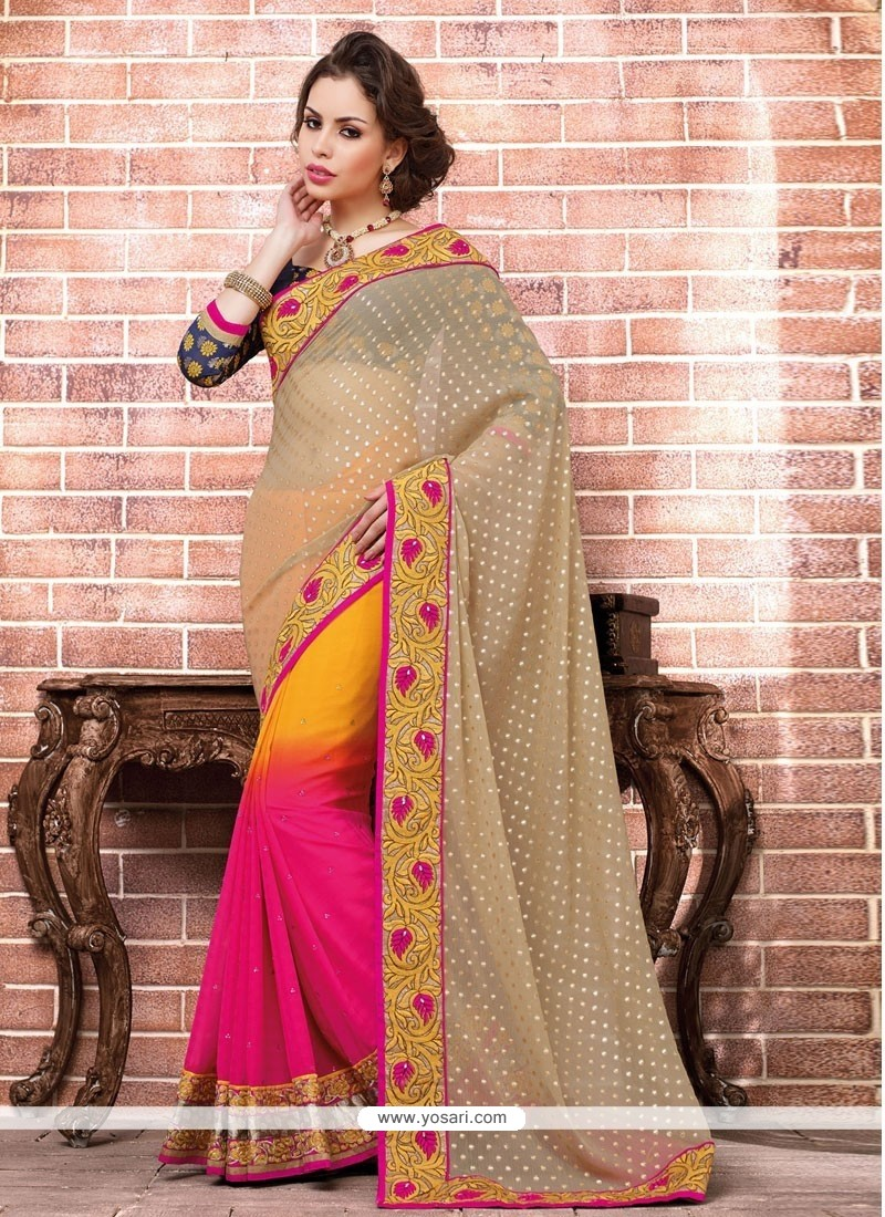 Beige And Magenta Faux Georgette Designer Saree
