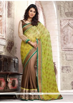 Blooming Green And Brown Shaded Faux Georgette Saree