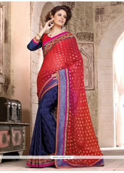 Latest Red And Blue Jacquard Wedding Saree