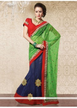 Magnificent Red And Blue Faux Georgette Lehenga Saree