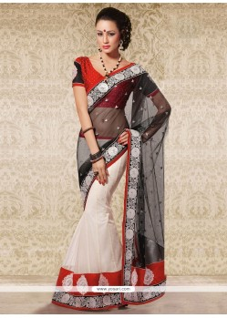 Lustrous Black Net Party Wear Saree