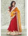 Imperial Mustard And Red Georgette Lehenga Saree