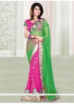 Eyeful Pink And Green Net Designer Saree