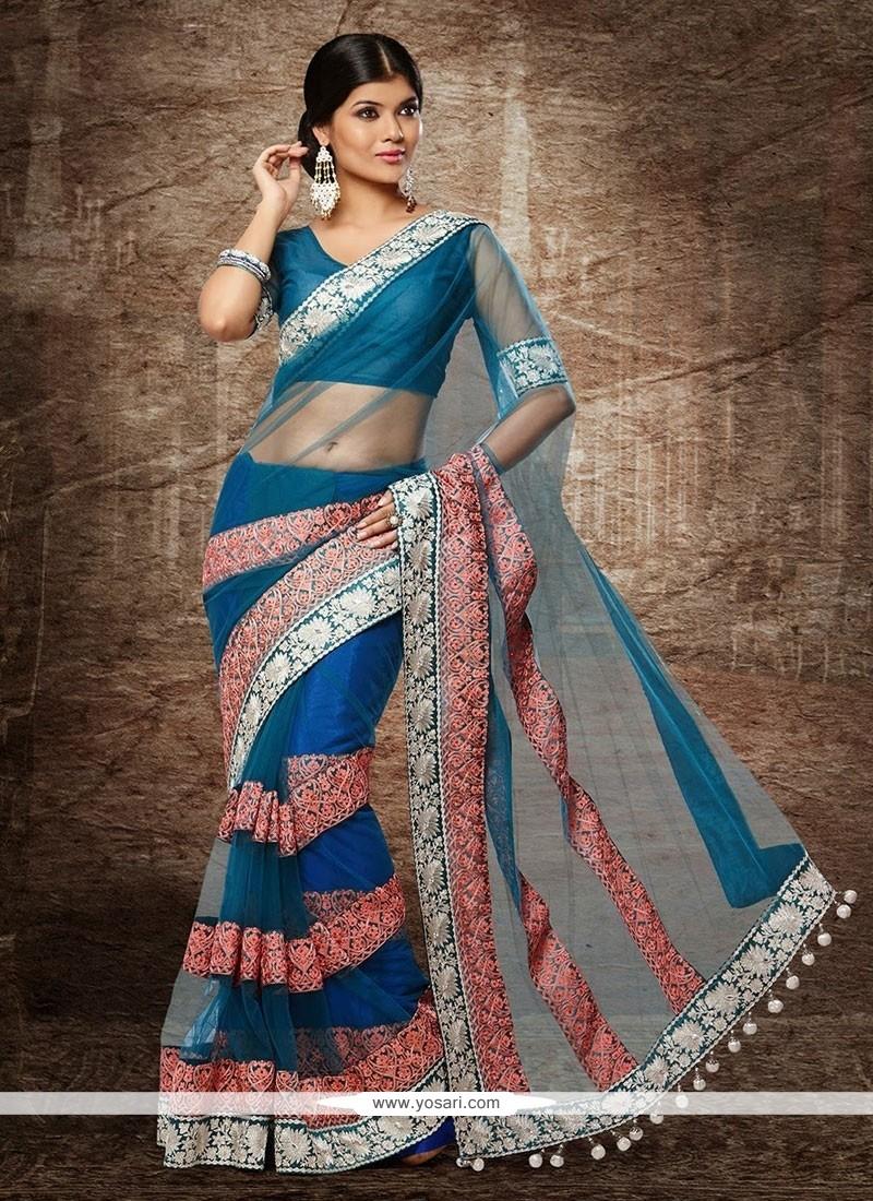 Awesome Blue Net Designer Saree