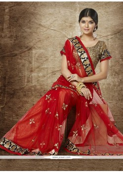 Charming Red Net Sequins Wedding Saree