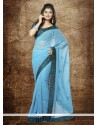 Light Blue Faux Chiffon Party Wear Saree