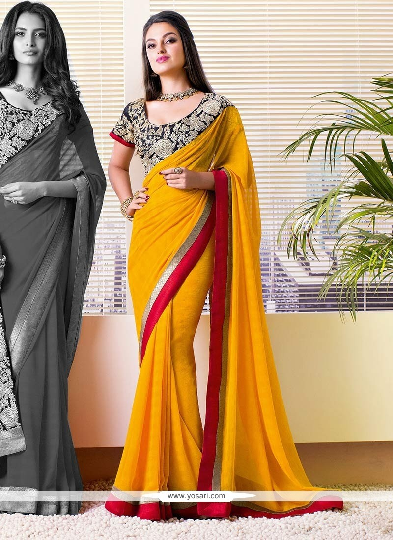 Competent Mustard Shaded Faux Georgette Saree