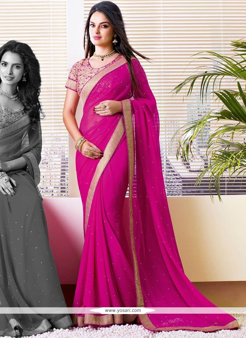 Latest Pink Shaded Faux Chiffon Saree