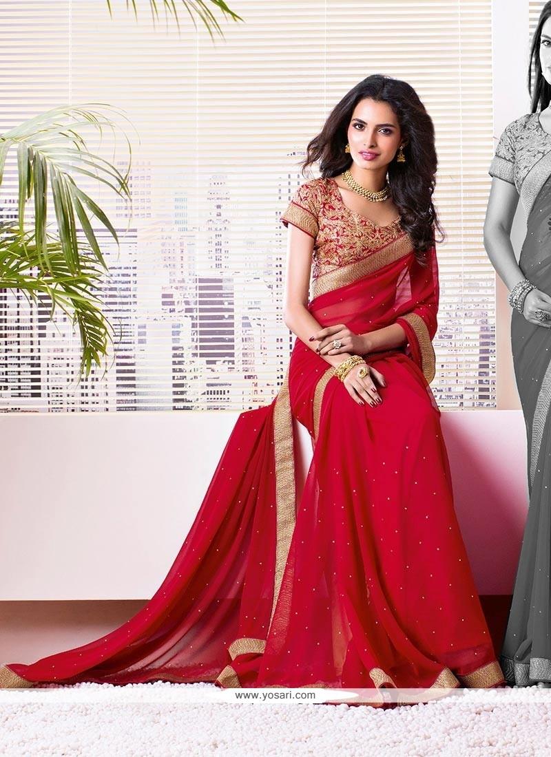 Blooming Red Shaded Faux Chiffon Saree