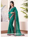 Fab Teal Shaded Printed Faux Chiffon Saree